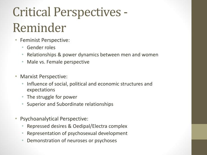 Critical Perspectives - Reminder