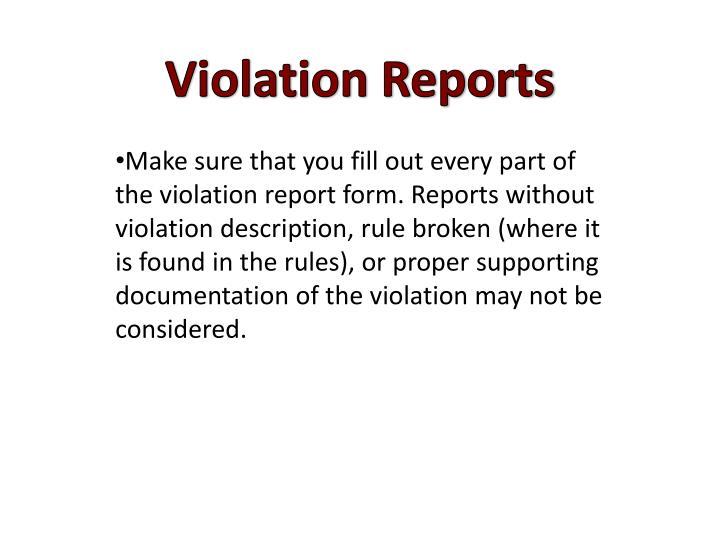 Violation Reports