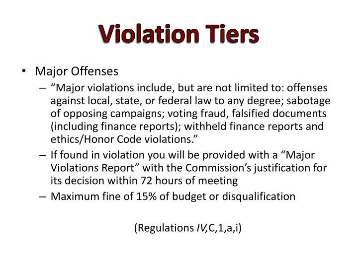 Violation Tiers