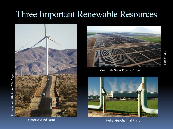 Three Important Renewable Resources