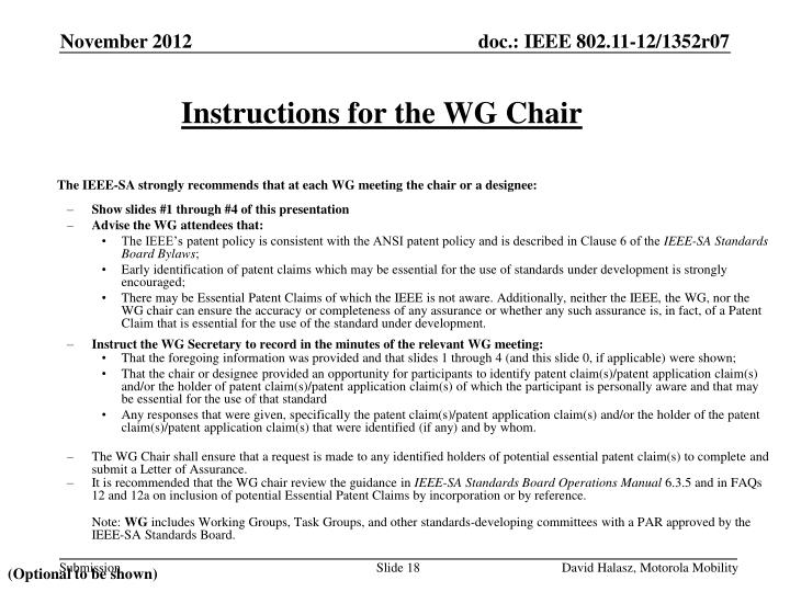 Instructions for the WG Chair