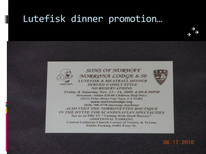 Lutefisk dinner promotion…