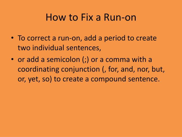 How to Fix a Run-on