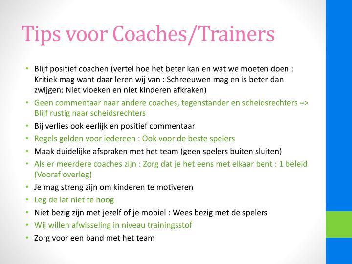 Tips voor Coaches/Trainers