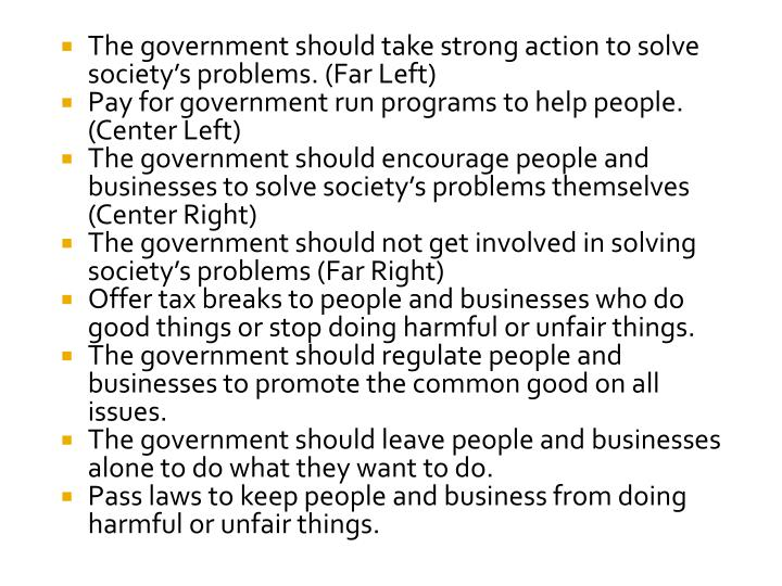 The government should take strong action to solve society's problems. (Far Left)