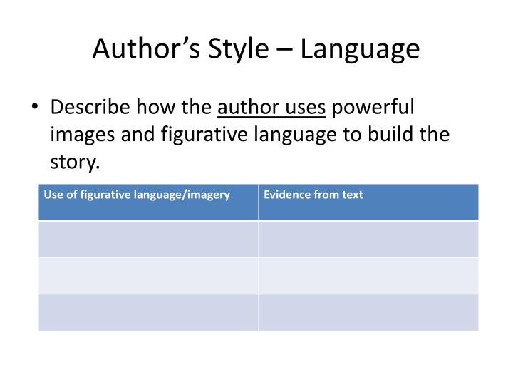 Author's Style – Language