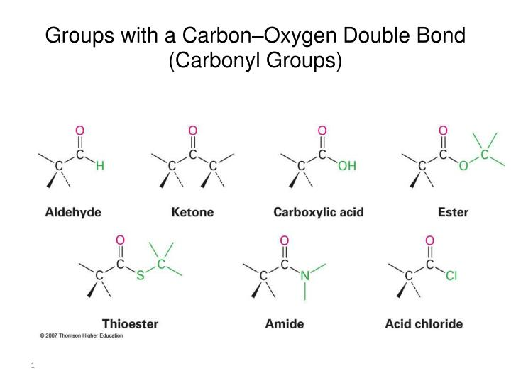 groups with a carbon oxygen double bond carbonyl groups