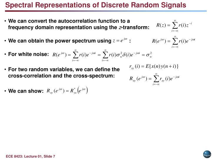 Spectral Representations of Discrete Random Signals