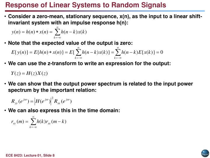 Response of Linear Systems to Random Signals