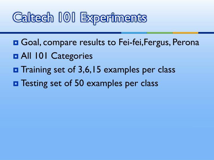Caltech 101 Experiments