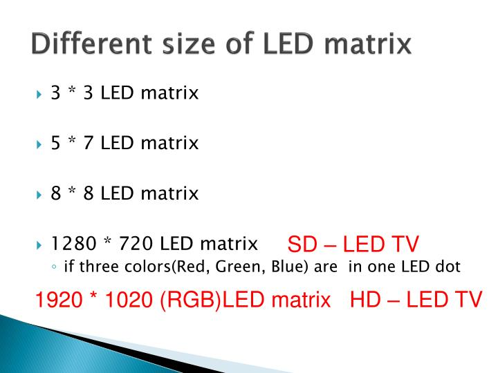 Different size of LED matrix