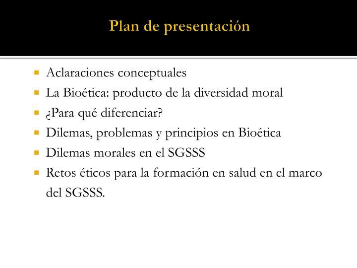 Plan de presentación
