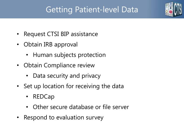 Getting Patient-level Data
