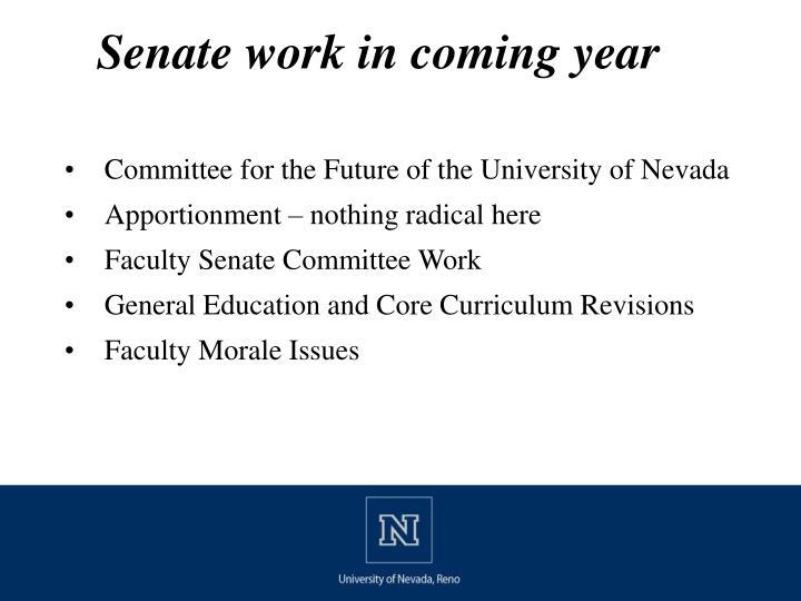 Senate work in coming year