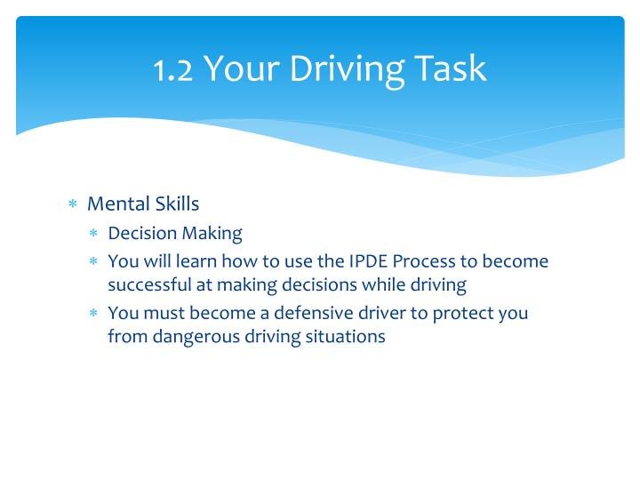 1.2 Your Driving Task