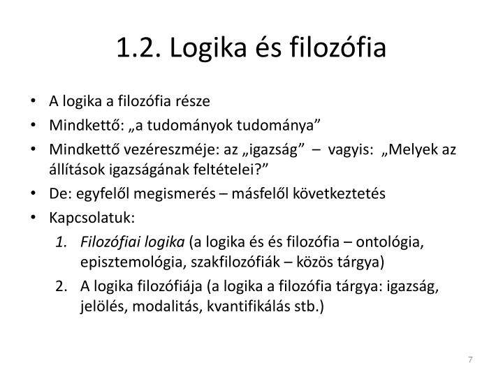 1.2. Logika és filozófia