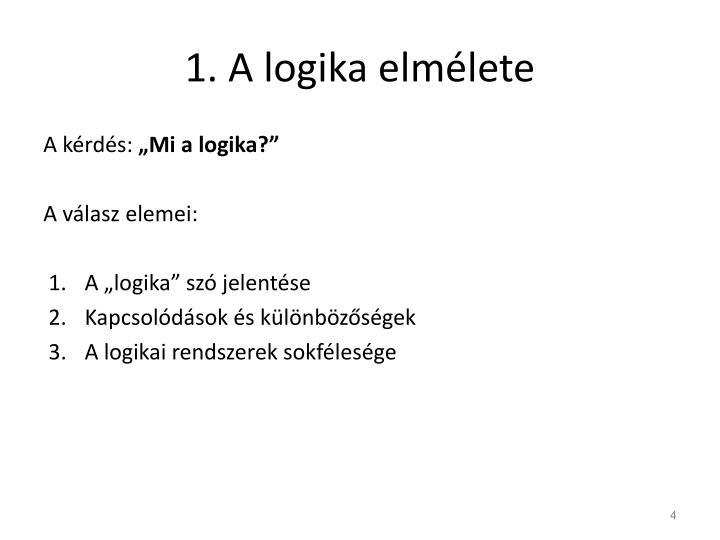 1. A logika elmélete