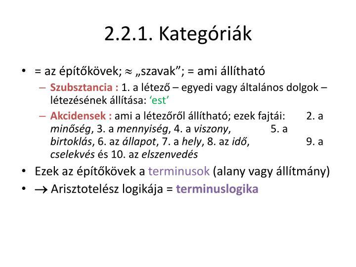 2.2.1. Kategóriák