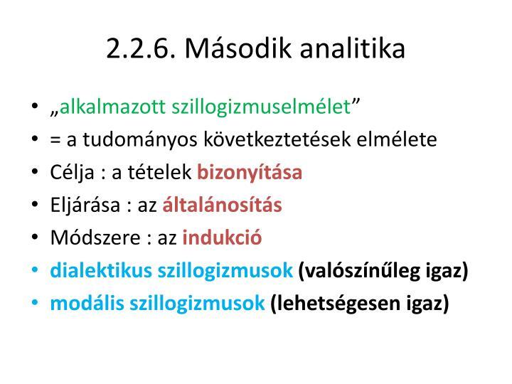 2.2.6. Második analitika