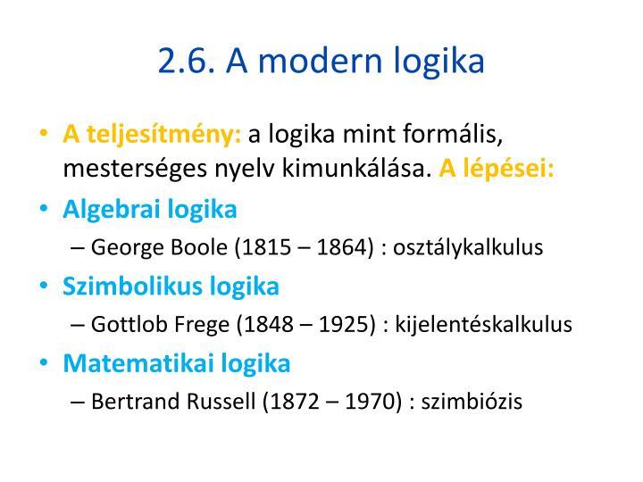 2.6. A modern logika