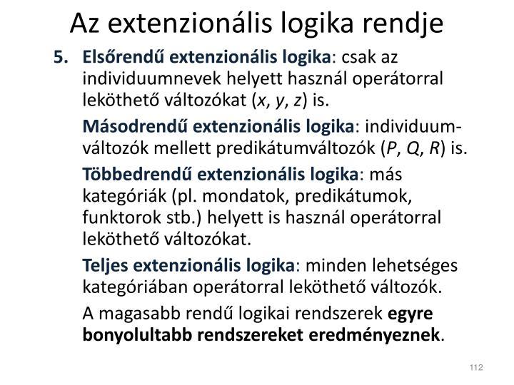 Az extenzionális logika rendje