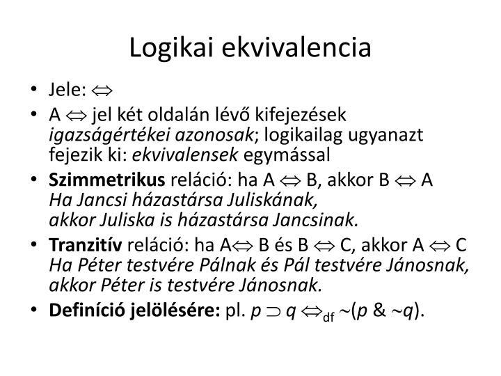 Logikai ekvivalencia