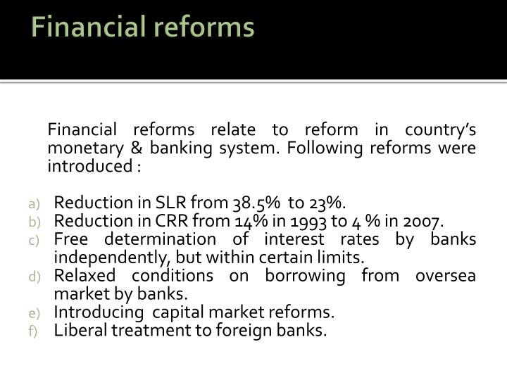 Financial reforms