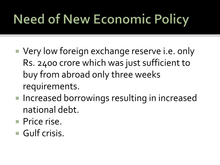 Need of new economic policy