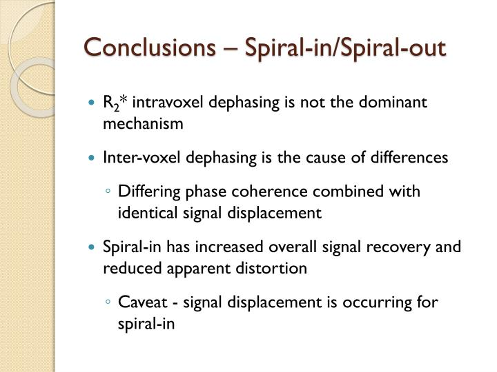 Conclusions – Spiral-in/Spiral-out