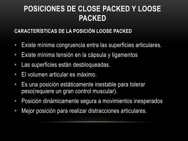 Posiciones de close packed y loose