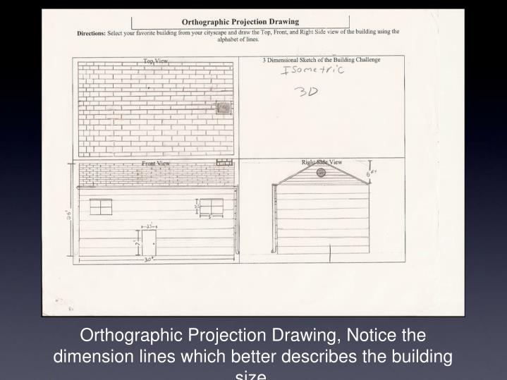 Orthographic Projection Drawing, Notice the dimension lines which better describes the building size.