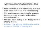 memorandum submissions due