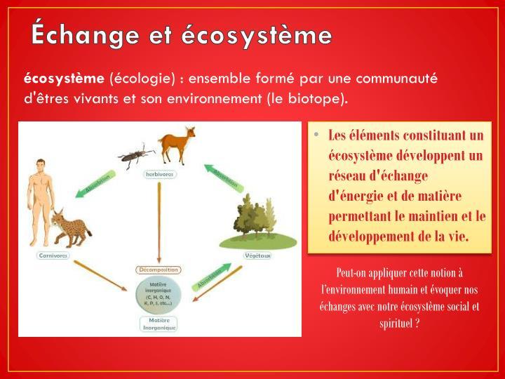 Échange et écosystème