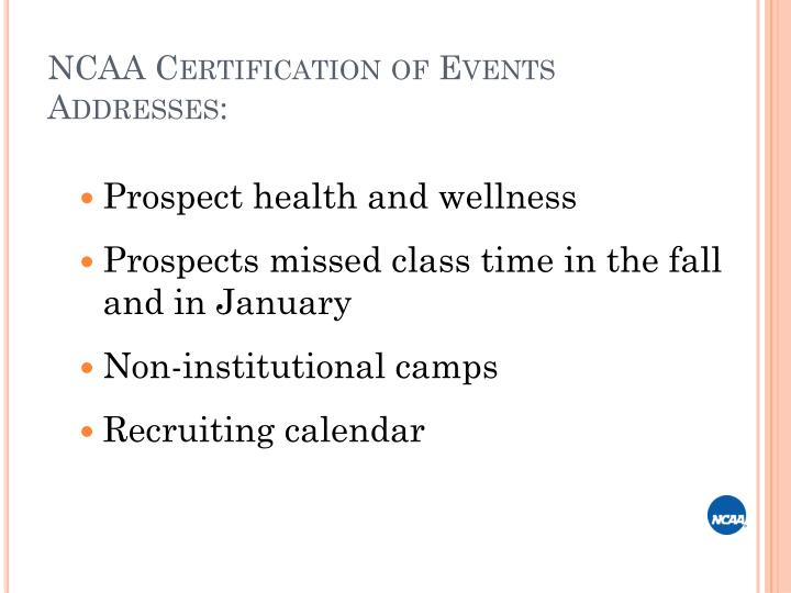 NCAA Certification of Events
