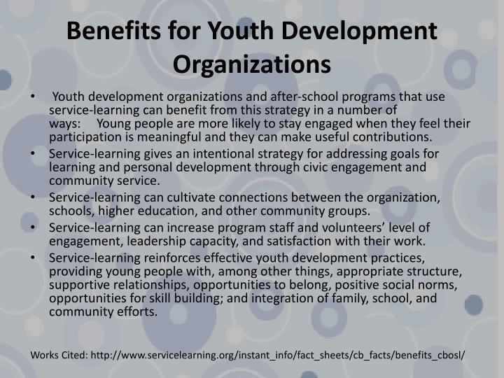Benefits for Youth Development Organizations