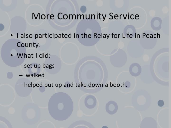 More Community Service