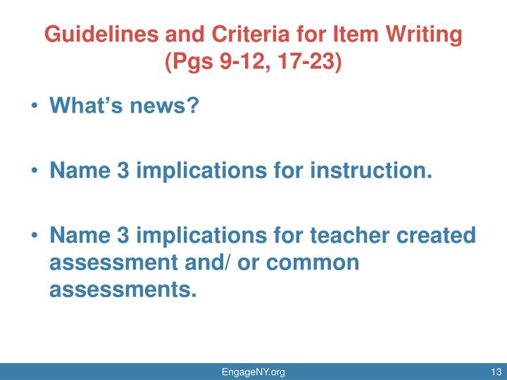 Guidelines and Criteria for Item Writing
