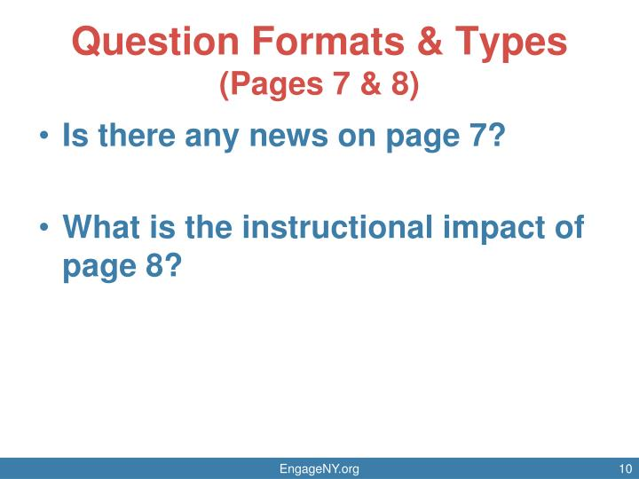 Question Formats & Types