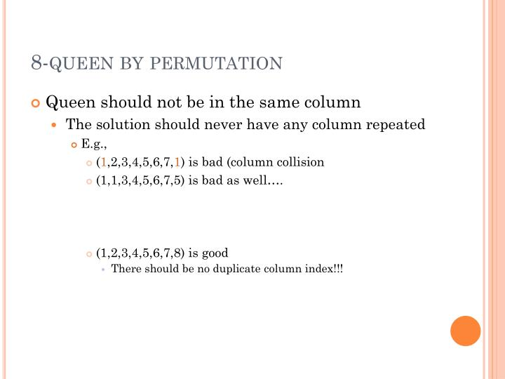 8-queen by permutation