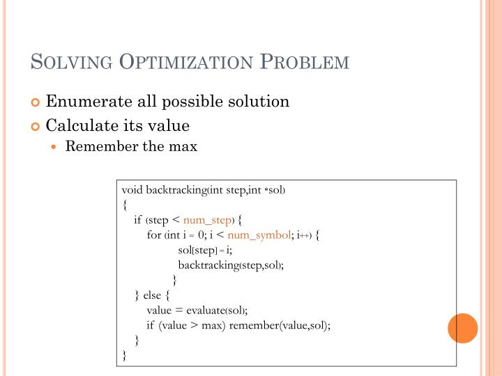 Solving Optimization Problem
