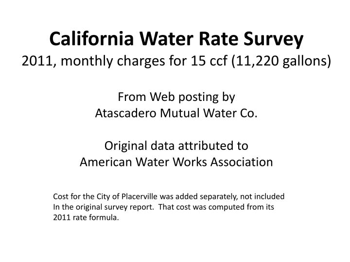 California Water Rate Survey
