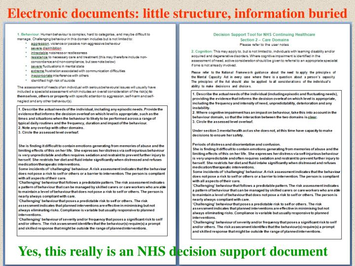 Electronic documents: little structure, information buried