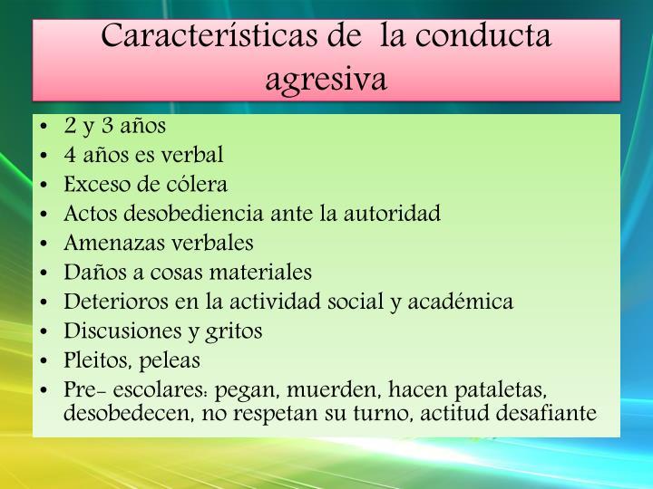 Características de  la conducta agresiva