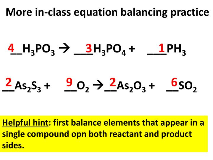 More in-class equation balancing practice