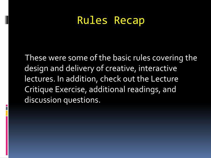 Rules Recap