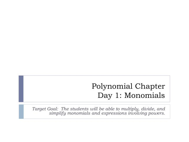 Polynomial Chapter
