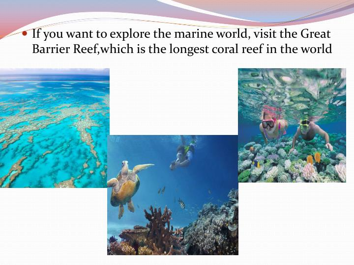 If you want to explore the marine world, visit the Great Barrier Reef,which is the longest coral reef in the world