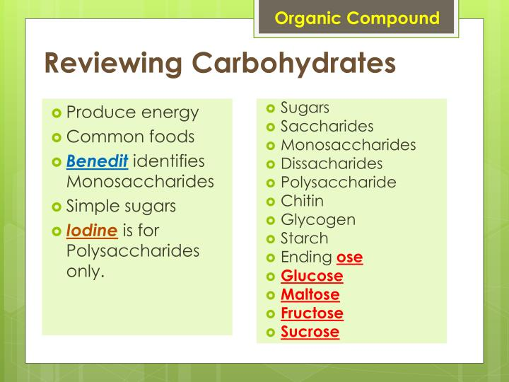 Reviewing carbohydrates