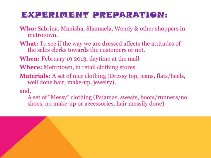 Experiment PREPARATION: