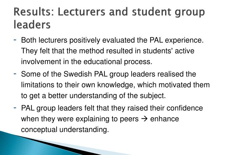 Results: Lecturers and student group leaders